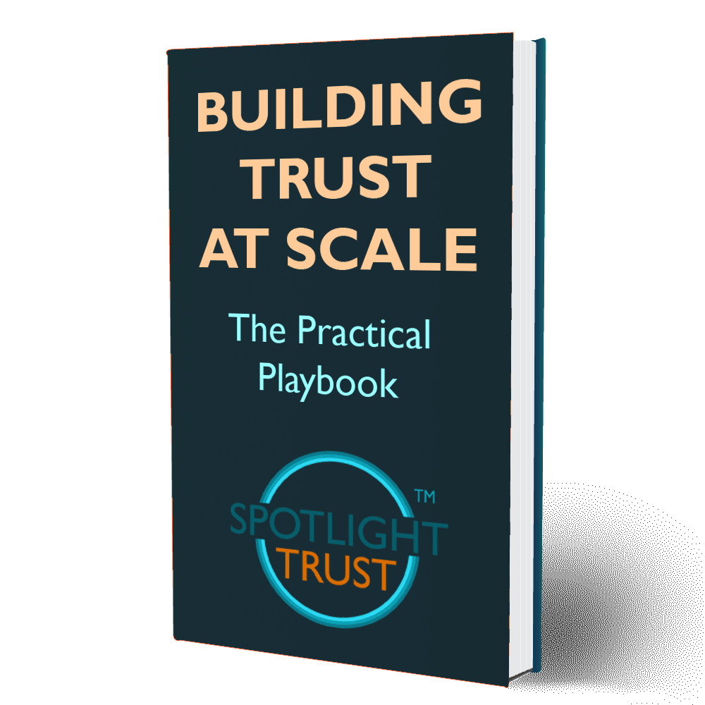 "A book with the title ""Building Trust at Scale"""