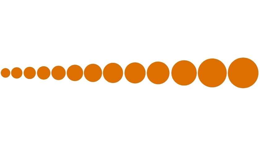 Series of orange circles increasing in size from left to right