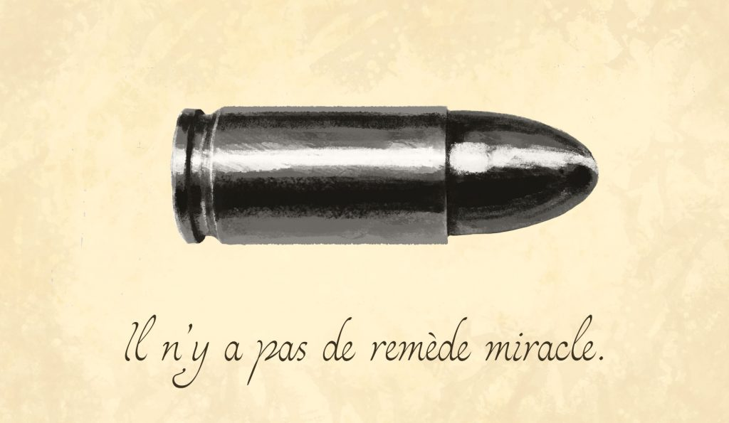A painting of a silver bullet, with a French phrase saying there are no silver bullets