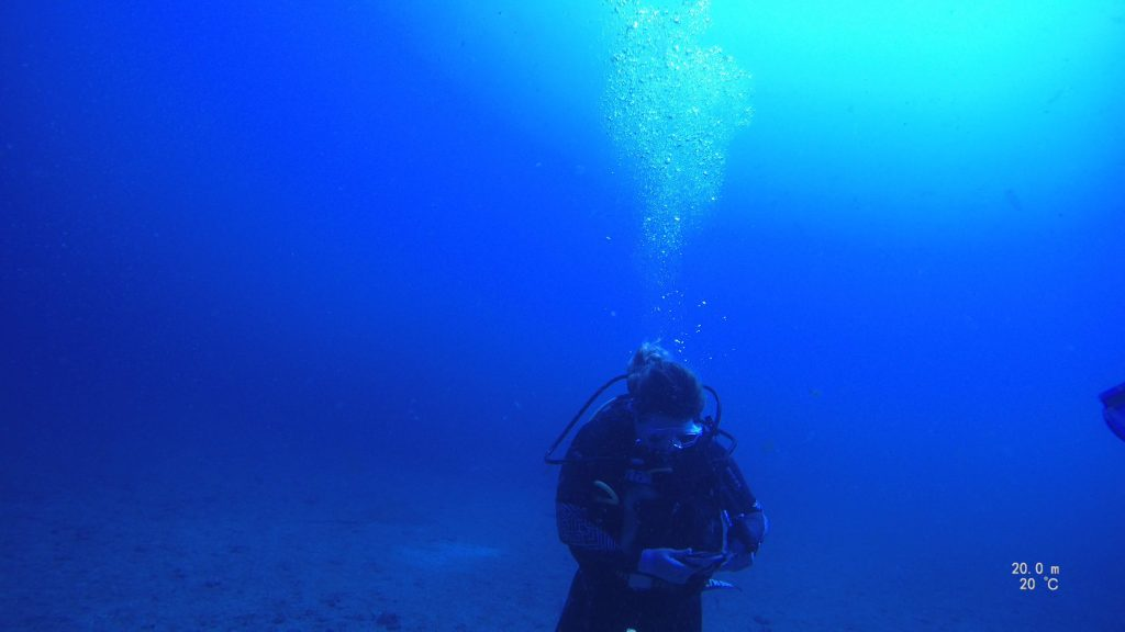Manage yourself - A scuba diver looking at her compass to navigate underwater